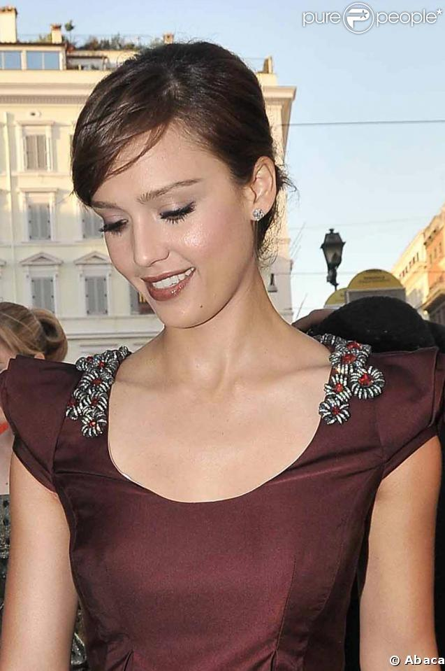 Jessica Alba à la soirée Bulgari hier soir à Rome