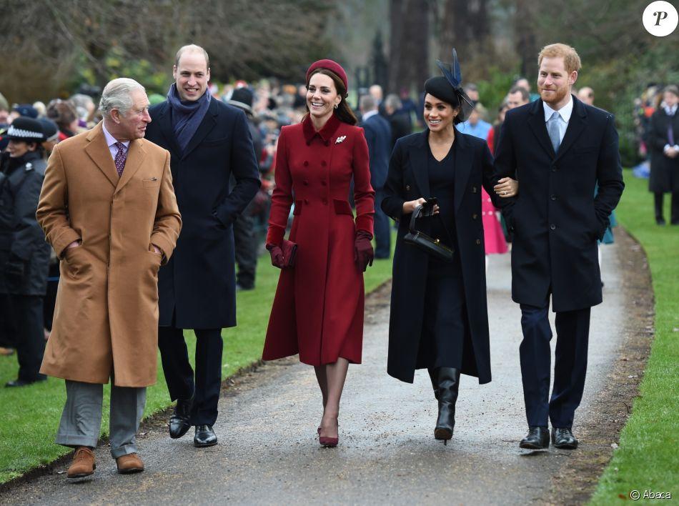 Le prince William et son épouse Kate Middleton, le prince Harry et son épouse Meghan Markle, réunis avec le prince Charles pour Noël à Sandringham, dans le Norfolk, le 25 décembre 2018.