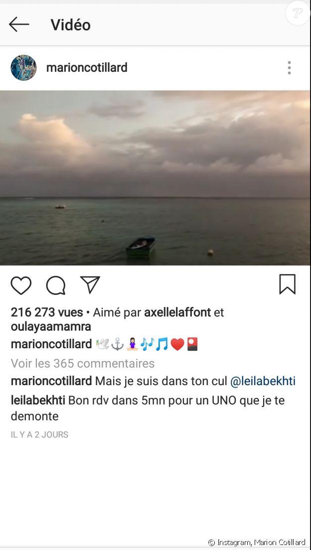 Capture d'écran de l'Instagram de Marion Cotillard, le 2 janvier 2018.