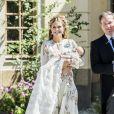 La princesse Madeleine de Suède et son mari Christopher O'Neill lors du baptême de leur fille la princesse Adrienne à Stockholm au palais Drottningholm le 8 juin 2018.