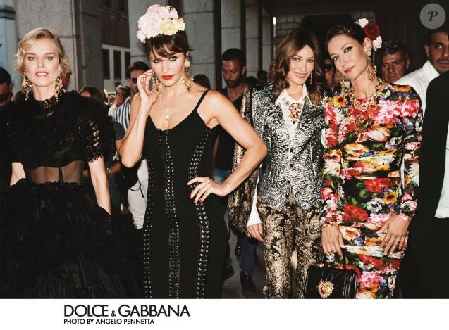 Eva Herzigová, Helena Christensen, Carla Bruni et Marpessa Hennink figurent sur la campagne printemps-été 2019 de Dolce & Gabbana. Photo par Angelo Pennetta.