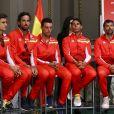 L'équipe espagnole (David Ferrer, Feliciano Lopez, Roberto Bautista, Rafael Nadal et Sergi Bruguera) - Tirage au sort des matches de la Coupe Davis Allemagne - Espagne à Valence le 5 avril 2018.