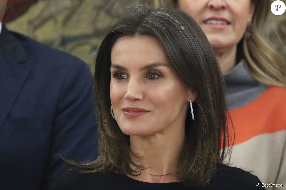 La reine Letizia d'Espagne en audience au palais de la Zarzuela à Madrid le 18 janvier 2019.