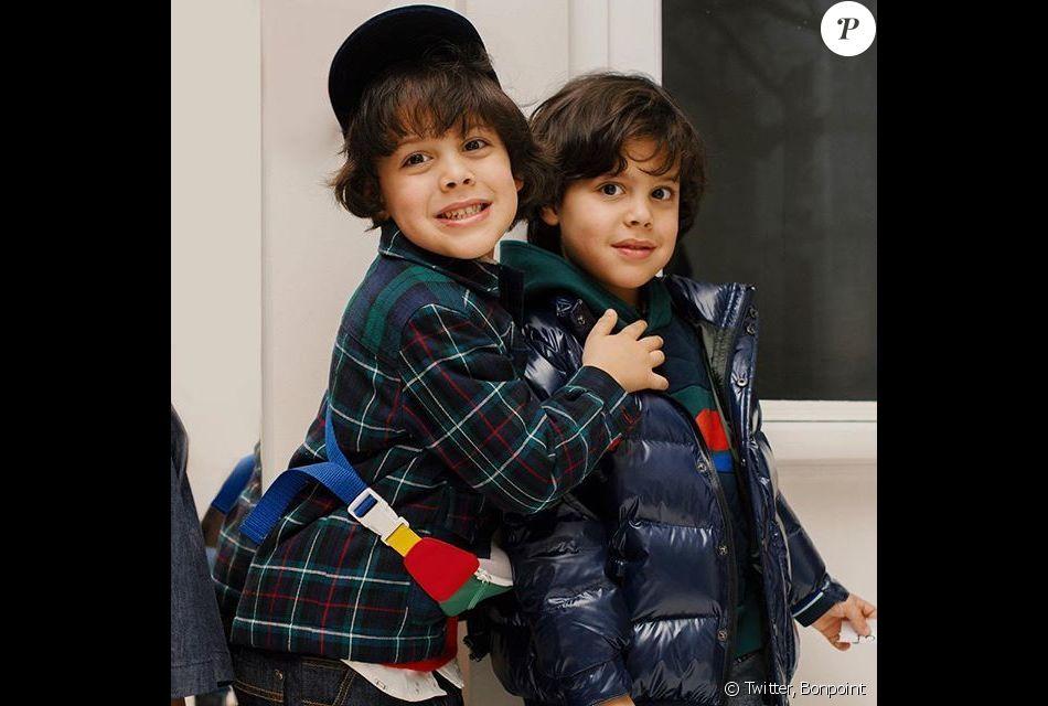 Les enfants de Jean-Roch et Anaïs Monory, Cielo et Santo, défilent pour Bonpoint. Paris, le 23 janvier 2019.