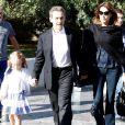Nicolas Sarkozy, Carla Bruni et leur fille Giulia arrivent au musée de l'Acropole à Athènes. Le 24 octobre 2017.