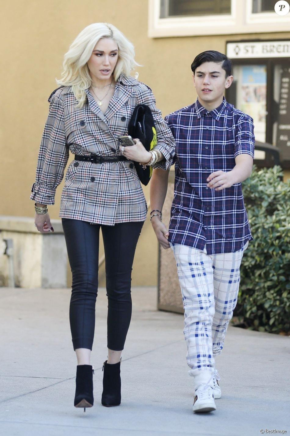 Gwen Stefani et son fils Kingston - Gwen Stefani se rend avec ses enfants à une messe dominicale à Los Angeles. Le 27 janvier 2019