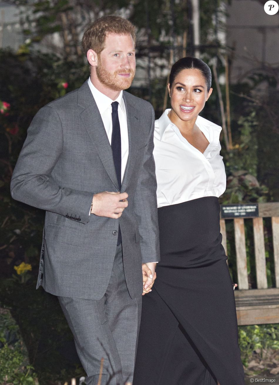 Le prince Harry, duc de Sussex, et Meghan Markle, enceinte, duchesse de Sussex, lors du cocktail d'accueil aux Endeavour fund Awards au Drapers' Hall à Londres le 7 février 2019.