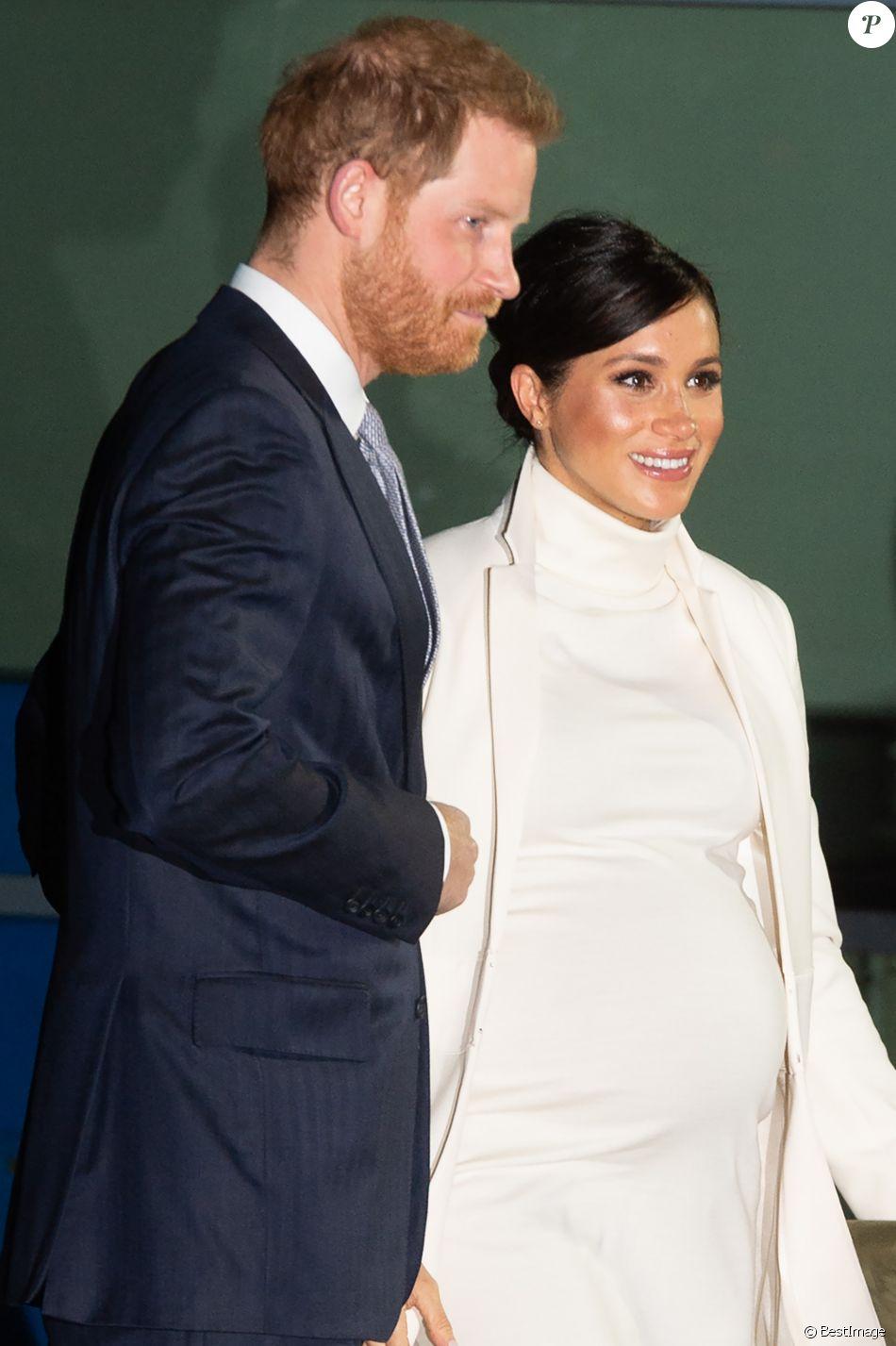 Le prince Harry et Meghan Markle, enceinte, arrivent au musée d'histoire naturelle pour assister à la soirée de gala The Wider Earth à Londres le 12 février 2019.
