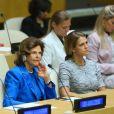 La reine Silvia de Suède et la princesse Madeleine lors d'une conférence sur l'exploitation sexuelle des enfants à l'ONU à New York le 3 octobre 2018.