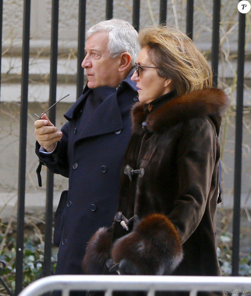 Cécilia et son mari Richard Attias - Obsèques de Lee Radziwill (Caroline Lee Bouvier), la soeur de Jackie Kennedy, belle soeur de JFK, en l'église Saint Thomas More à New York le 25 février 2019.