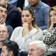 Marine Lloris (femme de H.Lloris) et Rachel Legrain-Trapani (compagne de B.Pavard) dans les tribunes du stade de France lors du match de ligue des nations opposant la France à l'Allemagne à Saint-Denis, Seine Saint-Denis, France, le 16 octobre 2018.