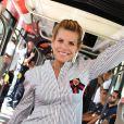 Exclusif - Laura Tenoudji, la femme de Christian Estrosi, le maire de Nice, durant l'inauguration de la ligne 2 Ouest Est du tramway sur le tronçon aérien entre le CADAM et Magnan à Nice 30 juin 2018.