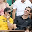 Laurent Blanc avec un ami à Roland Garros, hier