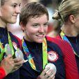Sarah Hammer, Kelly Catlin, Chloe Dygert et Jennifer Valente médaillées d'argent aux Jeux olympiques de Rio de Janeiro le 13 août 2016.