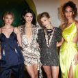 Elsa Hosk, Kendall Jenner, Hailey Bieber et Joan Smalls au Times Square Edition. New York, le 12 mars 2018.