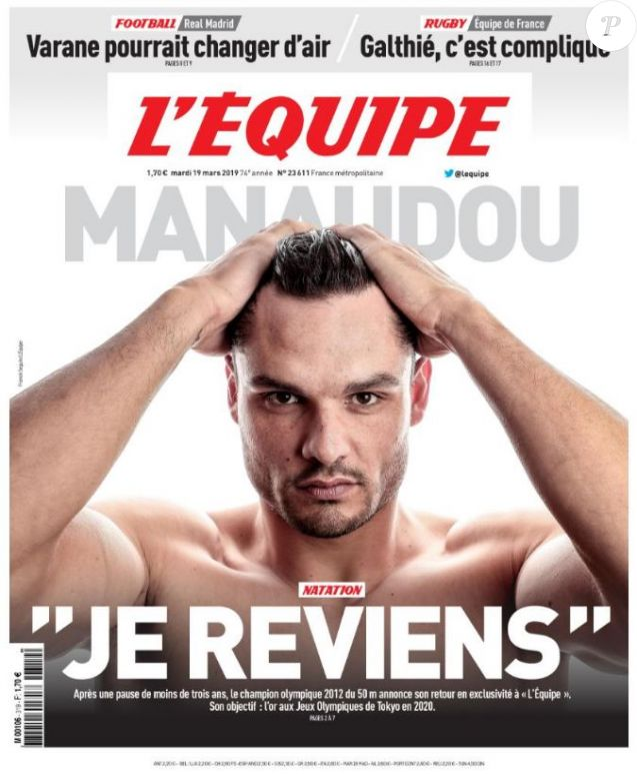 """Florent Manaudou en couverture du journal """"L'Equipe"""", édition du 19 mars 2019."""