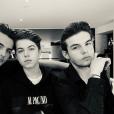 L'animateur Benjamin Castaldi entouré de ses fils Julien, Simon et Enzo pour ses 49 ans, le 28 mars 2018 à Paris.
