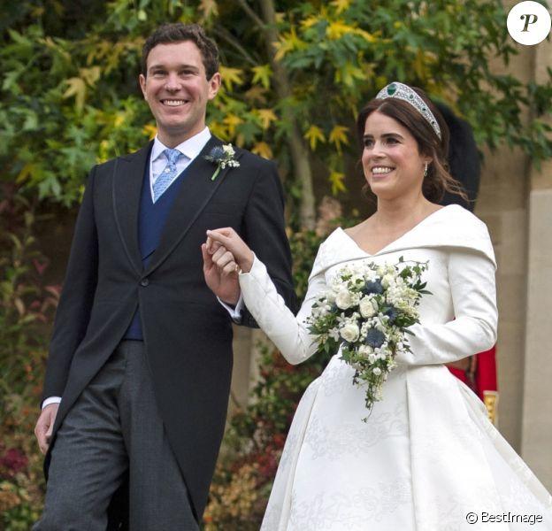 La princesse Eugenie et son mari Jack Brooksbank - Sorties après la cérémonie de mariage de la princesse Eugenie d'York et Jack Brooksbank en la chapelle Saint-George au château de Windsor le 12 octobre 2018.