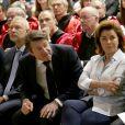 Exclusif - Bernard Tapie, nouveau parrain des étudiants en médecine, en compagnie de sa femme Dominique et de Christian Estrosi (maire de Nice) participe à la rentrée solennelle de la faculté de médecine de Nice, le 22 novembre 2018.