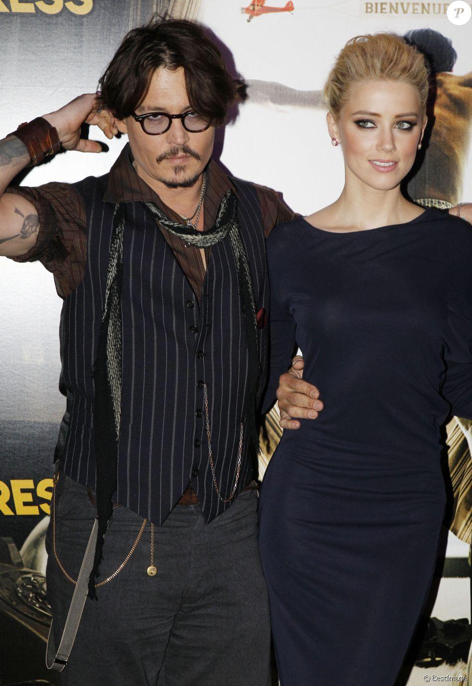 Johnny Depp et Amber Heard - Avant-première du film Rhum Express en 2011 à Paris