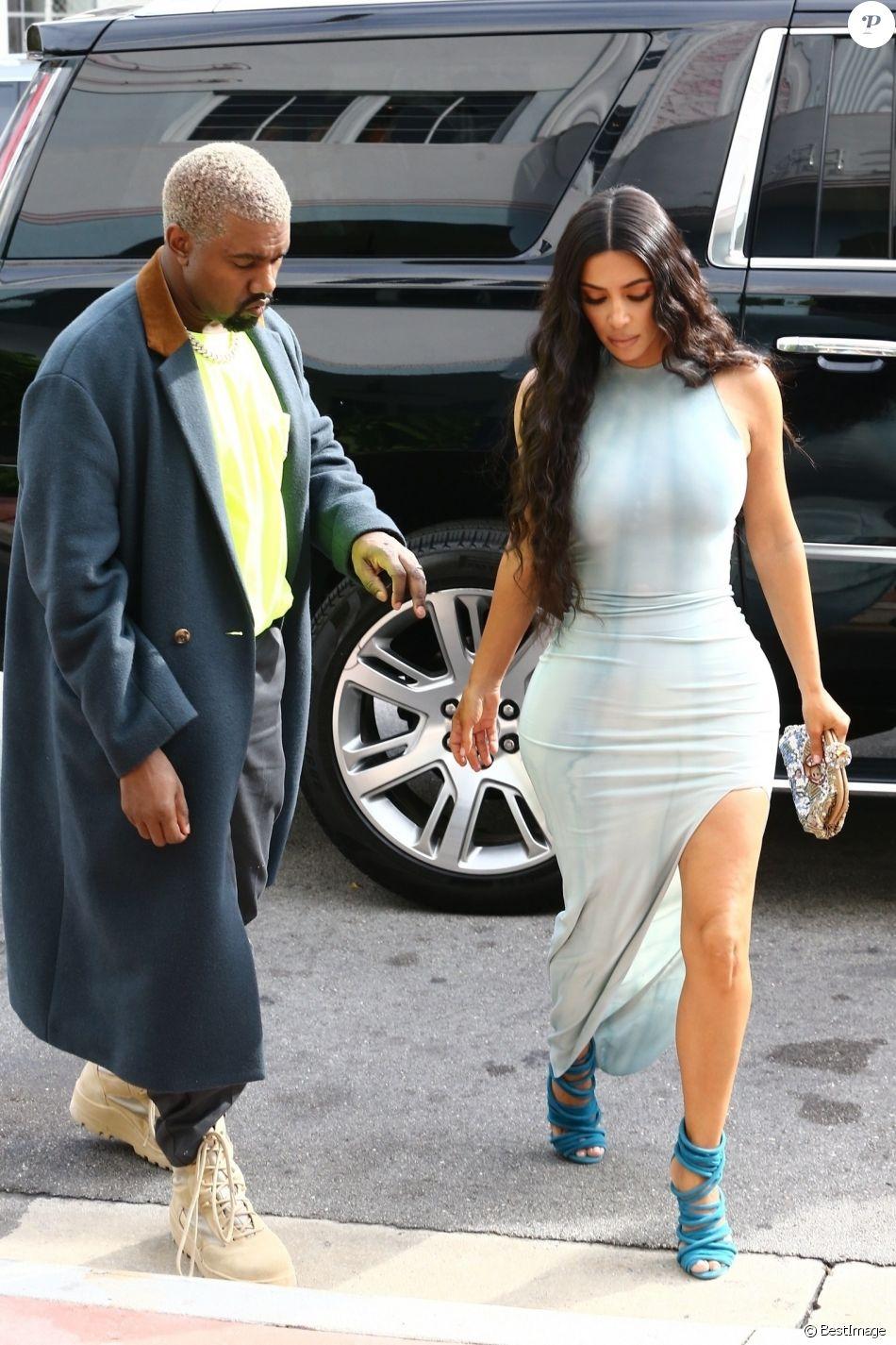 Kim Kardashian et son mari Kanye West sortent de leur hôtel à Miami Le 05 janvier 2019