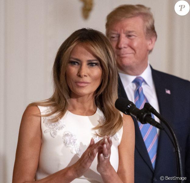 Le président des États-Unis, Donald J. Trump, et la première dame, Melania Trump, participent à la célébration des mères militaires dans la salle est de la Maison Blanche à Washington DC, le 10 mai 2019.
