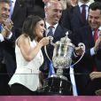 La reine Letizia d'Espagne lors de la finale de Copa de la Reina à Grenade, le 11 mai 2019, remportée par la Real Sociedad.