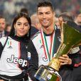 Cristiano Ronaldo, sa compagne Georgina Rodriguez - Cristiano Ronaldo fête en famille le titre de champion d'Italie avec son équipe la Juventus de Turin à Turin le 19 Mai 2019.
