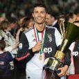 Cristiano Ronaldo fête en famille le titre de champion d'Italie avec son équipe la Juventus de Turin à Turin le 19 Mai 2019.
