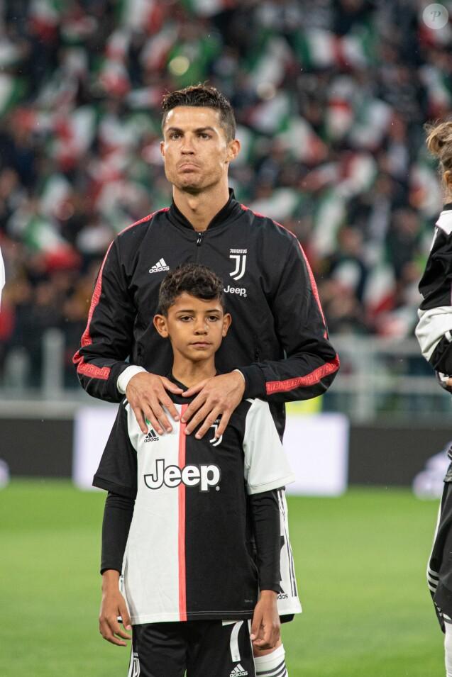 Cristiano Ronaldo et son fils Cristiano Ronaldo Jr. - Cristiano Ronaldo fête en famille le titre de champion d'Italie avec son équipe la Juventus de Turin à Turin le 19 Mai 2019.