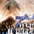 Cristiano Ronaldo et l'équipe de la Juventus de Turin - Cristiano Ronaldo fête en famille le titre de champion d'Italie avec son équipe la Juventus de Turin à Turin le 19 Mai 2019.