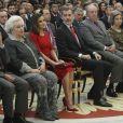 L'infante Pilar de Bourbon et la famille royale espagnole (Letizia, Felipe, Juan Carlos, Sofia, Elena) lors de la cérémonie des Prix nationaux du sport espagnol à Madrid le 10 janvier 2019.