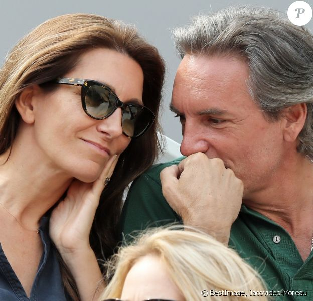 Anne-Claire Coudray et Nicolas Vix dans les tribunes lors des internationaux de tennis de Roland Garros à Paris, France, le 3 juin 2019. © Jacovides-Moreau/Bestimage
