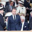 Le président français Emmanuel Macron - Cérémonie à Portsmouth pour le 75ème anniversaire du débarquement en Normandie pendant la Seconde Guerre Mondiale. Le 5 juin 2019