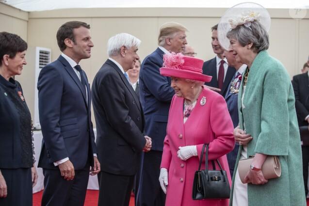 Le gouverneur général de Nouvelle-Zélande Patsy Reddy, le président de France Emmanuel Macron, le président de Grèce Prokopis Pavlopoulos, le président des Etats-Unis Donald Trump, la reine Elisabeth II et la première ministre britannique Theresa May - Réunion des leaders des Nations Alliées à Portsmouth lors du 75ème anniversaire du débarquement en Normandie pendant la Seconde Guerre Mondiale. Le 5 juin 2019