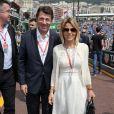 Christian Estrosi et sa femme Laura Tenoudji Estrosi dans les paddocks lors des essais du 77 ème Grand Prix de Formule 1 (F1) de Monaco le 25 Mai 2019. © Bruno Bebert / Bestimage