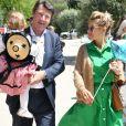Exclusif - Christian Estrosi, le maire de Nice, et sa femme Laura Tenoudji avec leur fille Bianca ont fêté en famille le 1er mai dans les jardins de Cimiez pour la Fête des Mai à Nice, le 1er mai 2019. © Bruno Bebert/Bestimage