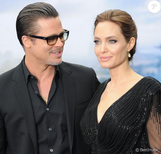 """Angelina Jolie et Brad Pitt sont légalement séparés - Angelina Jolie et Brad Pitt - Première du film """"Maleficent"""" à Londres le 8 mai 2014. 0"""