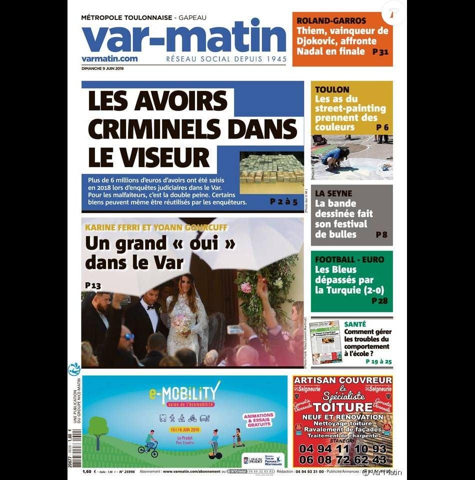 Une de Var-Matin du dimanche 9 juin 2019. L'édition revient notamment sur le mariage de Karine Ferri et Yoann Gourcuff, la veille à La Motte.