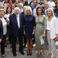 Semi Exclusif - Brigitte Macron à la sortie d'une visite de l'école de la 2ème chance à Marseille en compagnie du maire Jean-Claude Gaudin le 14 juin 2019. La veille, le jeudi 13 juin 2019, la première dame a rendu visite aux habitants de la cité Felix-Pyat dans les quartiers nords de Marseille. Elle a échangé pendant plus de deux heures avec des associations luttant contre les discriminations et les déserts médicaux. Elle était venu en avril 2017 et avait promis de revenir : c'est chose faite. A la suite de cette visite où Brigitte Macron a pu échanger avec les habitants, elle s'est rendue dans une salle de boxe de la cité du Castellas, la salle Noble Art Boxing 15. Ce vendredi, après la visite de l'école de la 2ème chance, Brigitte Macron a déjeuné avec Jean-Claude Gaudin, le maire de Marseille et Martine Vassal, présidente du conseil de la métropole d'Aix Marseille Provence. Lors de ces deux jours de visite privée, Brigitte Macron avait pour guide un proche, Jean-Philippe Agresti, doyen de la faculté de Droit et de Science Politique Aix Marseille comme lors de son premier passage en avril 2017. Photo : Brigitte Macron entre Jean-Claude Gaudin, maire de Marseille et Martine Vassal, présidente du conseil de la métropole d'Aix Marseille Provence.