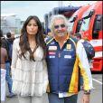 Grand Prix de Silverstone, le 21 juin 2009 : Elisabetta Gregoraci et son époux Flavio Briatore