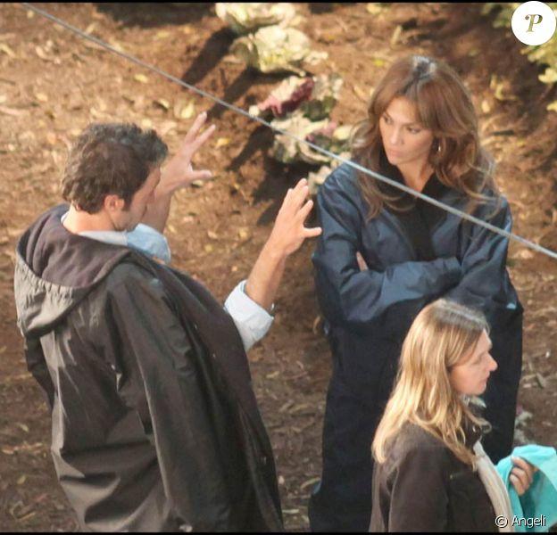 """Jennifer Lopez et Alex O'loughlin sur le tournage de """"The Back-Up Plan"""" à Los Angeles"""