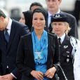 Carla Bruni et Nicolas Sarkozy reçoivent l'Emir du Qatar et son épouse en France. Voici l'arrivée du couple. 22 juin 2009.