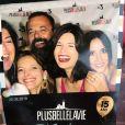 """Flavie Péan avec Fabienne Carat et Elodie Varlet aux 15 ans de """"Plus belle la vie"""",  au Fort Ganteaume, à Marseille, le 29 juin 2019"""