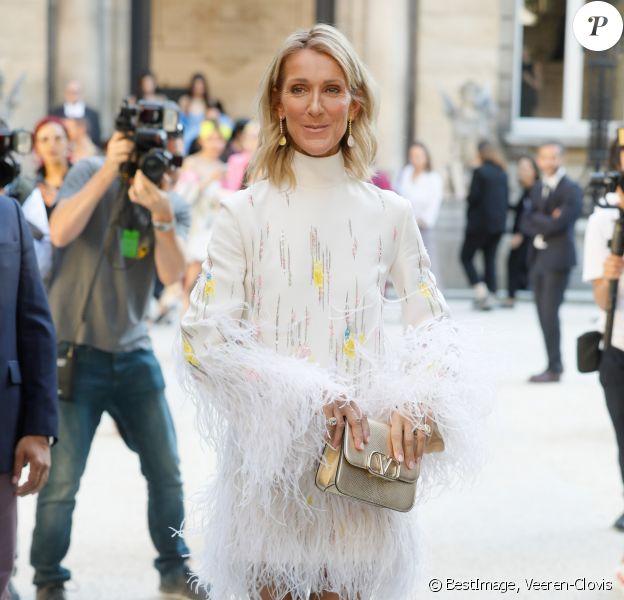 Céline Dion arrive au défilé Haute Couture Valentino collection Automne-Hiver 2019/20 à l'hôtel Salomon de Rothschild à Paris, France, le 3 juillet 2019. © Veeren-Clovis/Bestimage