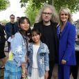 Exclusif - Prix Spécial - No web - Laeticia Hallyday avec ses filles Joy et Jade et Yvan Cassar - Laeticia Hallyday sort de sa loge pour se rendre sur la scène puis pose avec des bikers et ses amis lors de l'inauguration de l'esplanade Johnny Hallyday à Toulouse, le 15 juin 2019. Laeticia Hallyday et ses filles Jade et Joy sont venues inaugurer une esplanade portant le nom de Johnny Hallyday située en face du Zénith de Toulouse, le 15 juin 2019, date hautement symbolique puisque le rockeur aurait eu 76 ans. © Dominique Jacovides/Bestimage