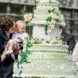 Le prince Amedeo de Belgique et sa fille la princesse Anna Astrid le 29 juin 2017 à Bruxelles lors d'une célébration du 80e anniversaire de la reine Paola de Belgique.