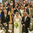 Le prince Amedeo de Belgique et la princesse Elisabetta (Rosboch von Wolkenstein) lors de leur mariage à Rome le 5 juillet 2014.