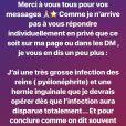 Jade Lagardère a donné via Insatgram de ses nouvelles alors qu'elle était à l'hôpital en Belgique le 5 juillet 2019, en raison d'une pyélonéphrite.