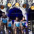 Romain Bardet, Alexis Vuillermoz, Mikaël Chérel de l'équipe AG2R lors de la présentation des équipes du Tour de France 2019 le 4 juillet à Bruxelles.